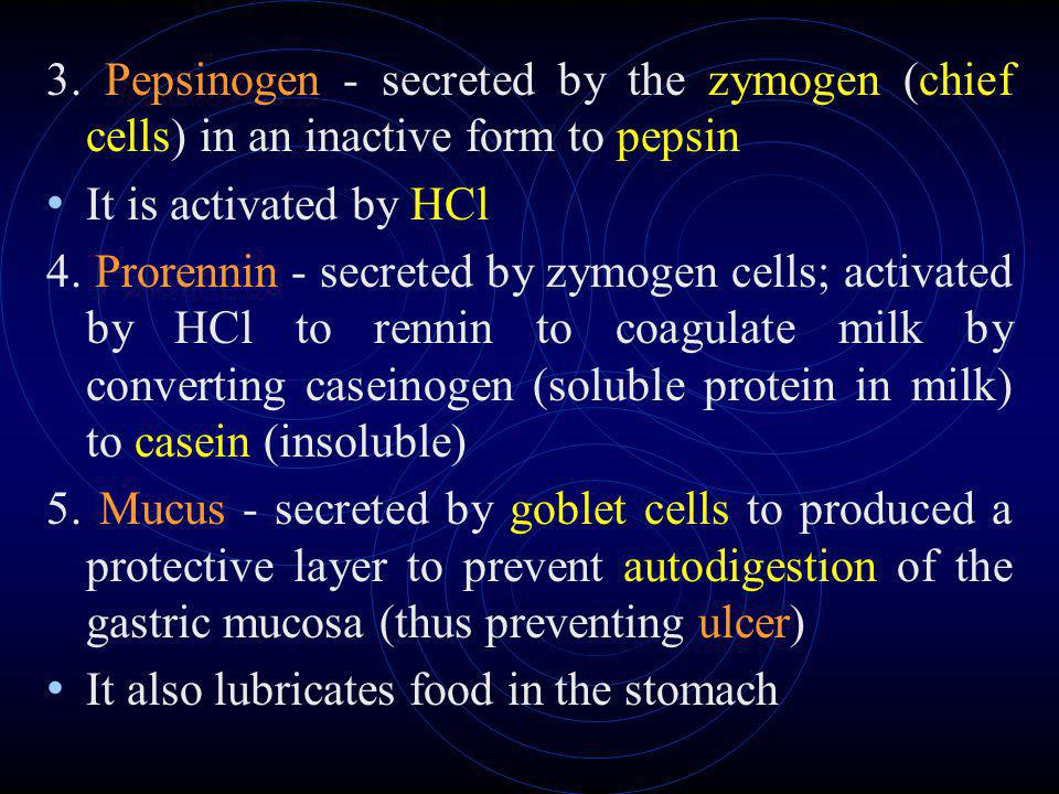 3. Pepsinogen - secreted by the zymogen (chief cells) in an inactive form to pepsin