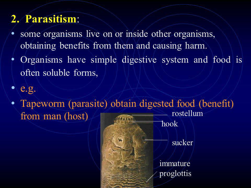 2. Parasitism: some organisms live on or inside other organisms, obtaining benefits from them and causing harm.