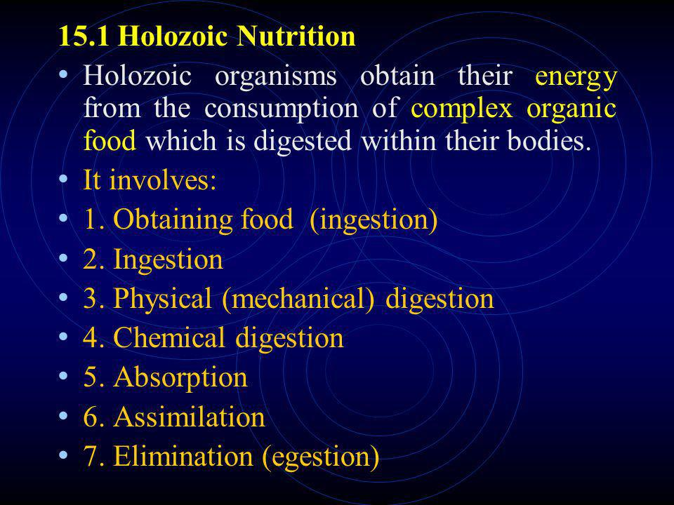 15.1 Holozoic Nutrition Holozoic organisms obtain their energy from the consumption of complex organic food which is digested within their bodies.