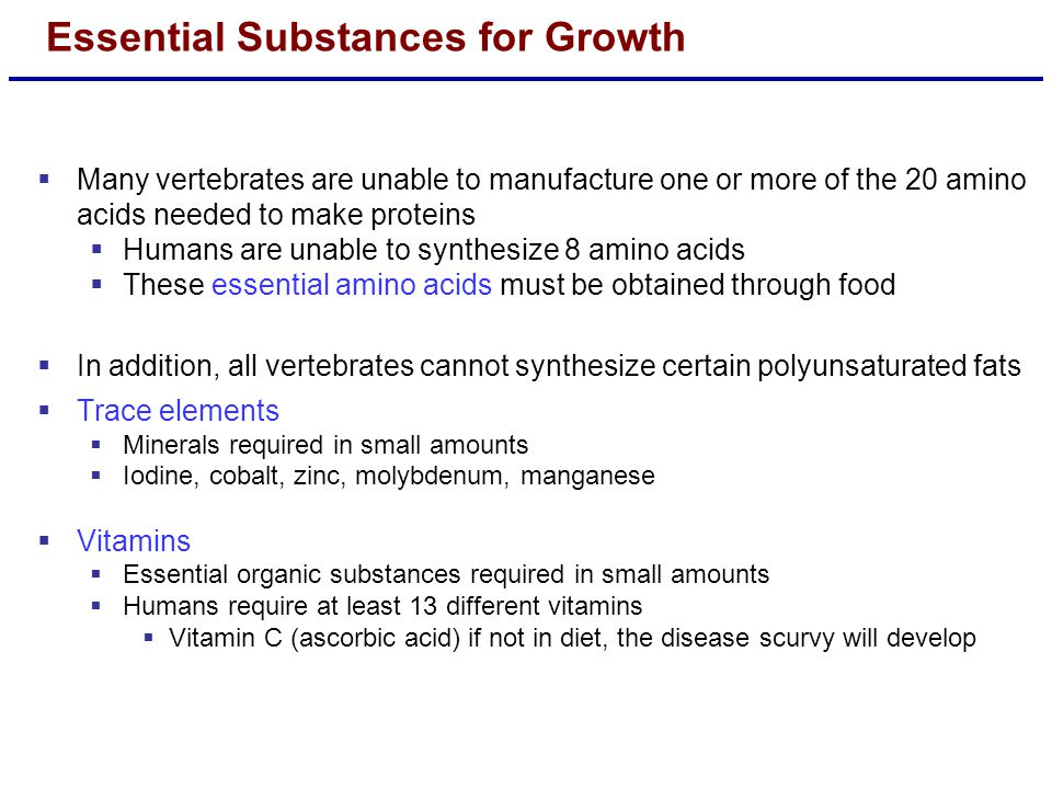 Essential Substances for Growth