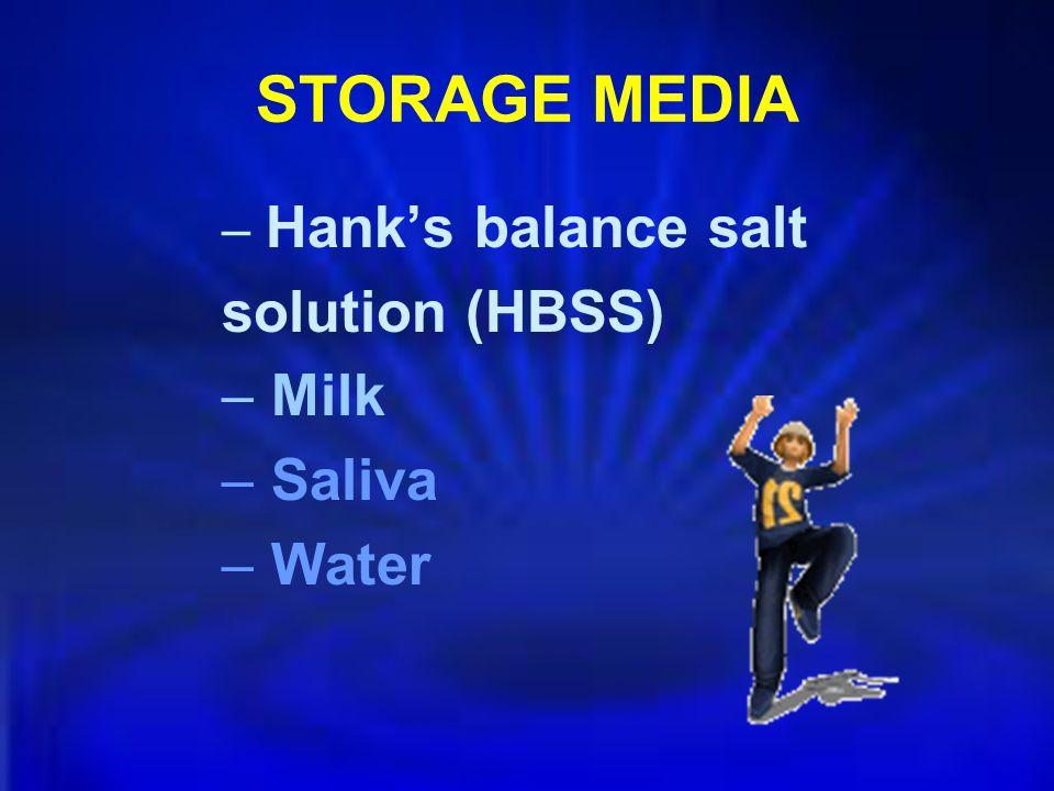 STORAGE MEDIA Hank's balance salt solution (HBSS) Milk Saliva Water