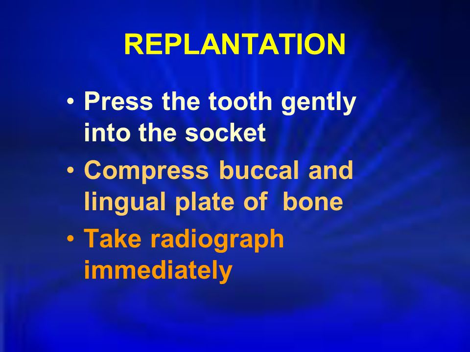 REPLANTATION Press the tooth gently into the socket