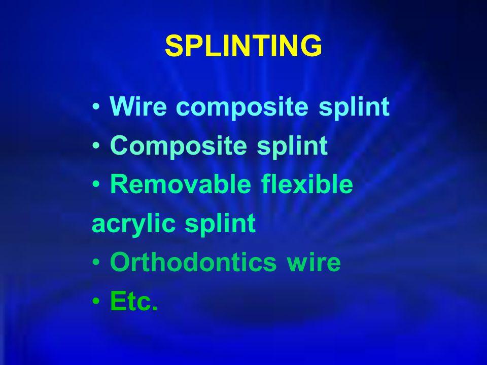 SPLINTING Wire composite splint Composite splint Removable flexible
