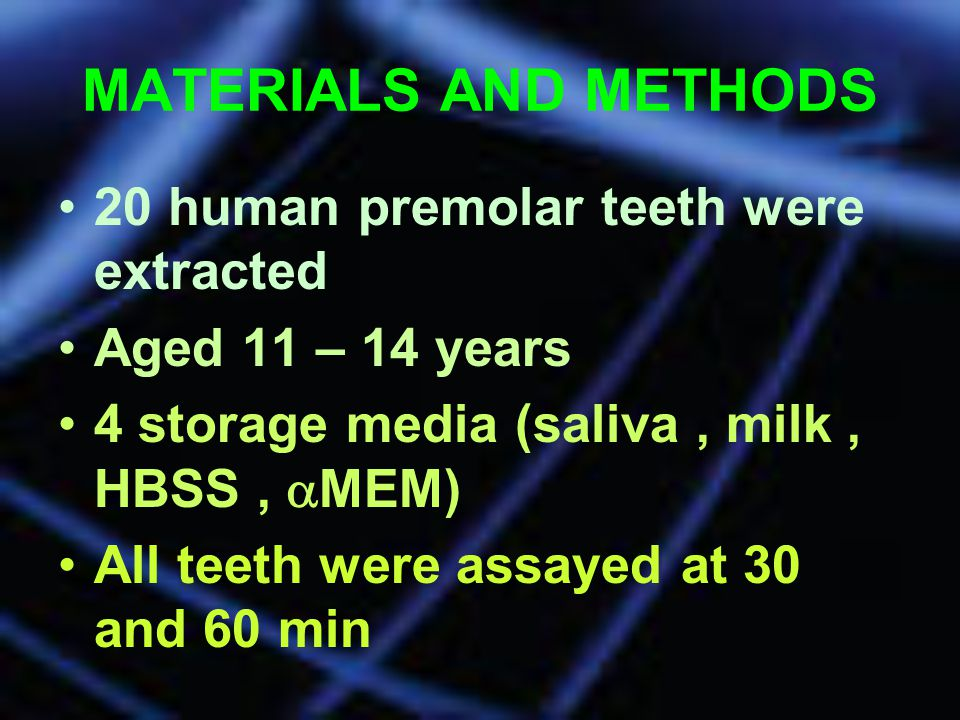 MATERIALS AND METHODS 20 human premolar teeth were extracted