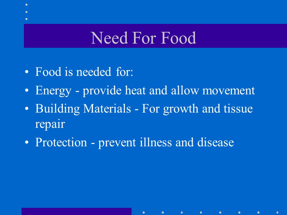 Need For Food Food is needed for: