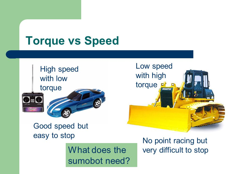 Torque vs Speed What does the sumobot need Low speed with high torque