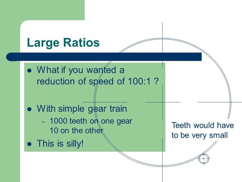 Large Ratios What if you wanted a reduction of speed of 100:1
