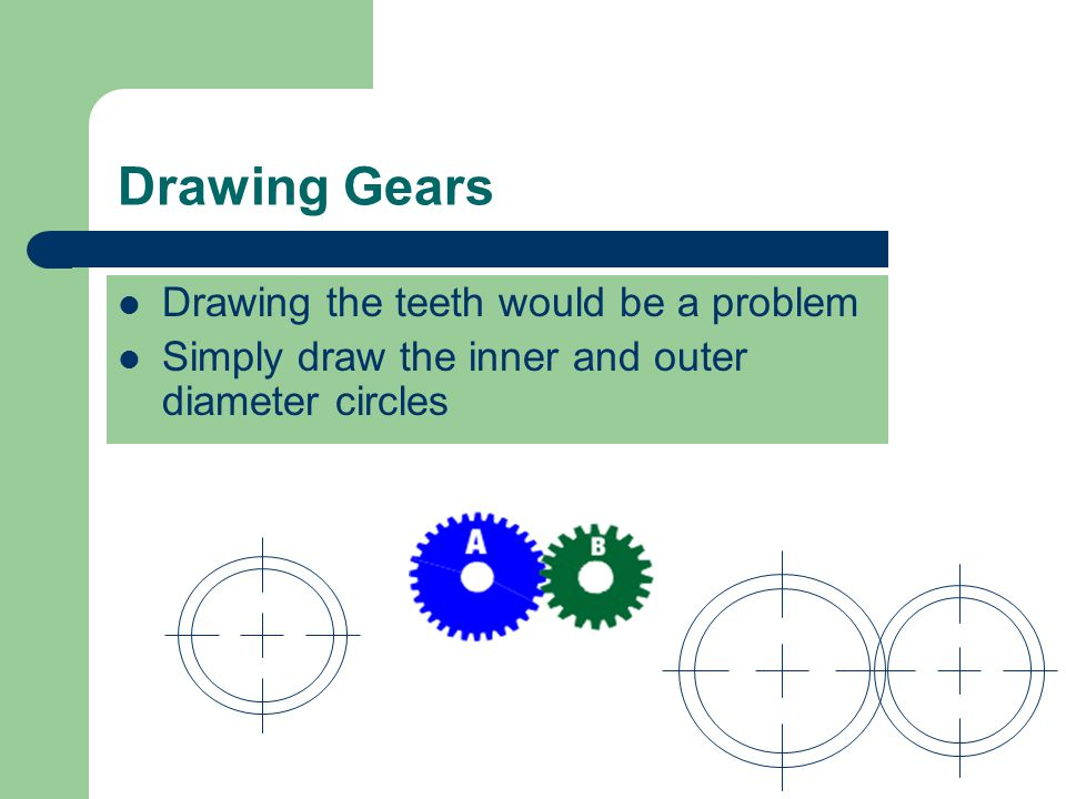 Drawing Gears Drawing the teeth would be a problem
