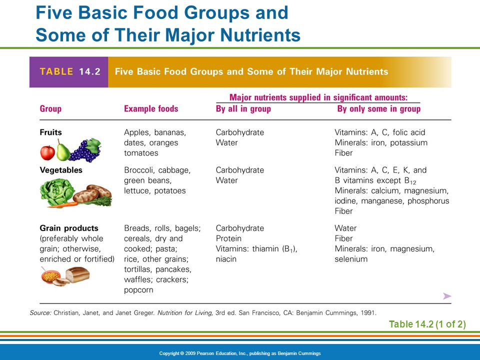 Five Basic Food Groups and Some of Their Major Nutrients