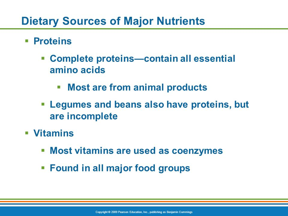 Dietary Sources of Major Nutrients