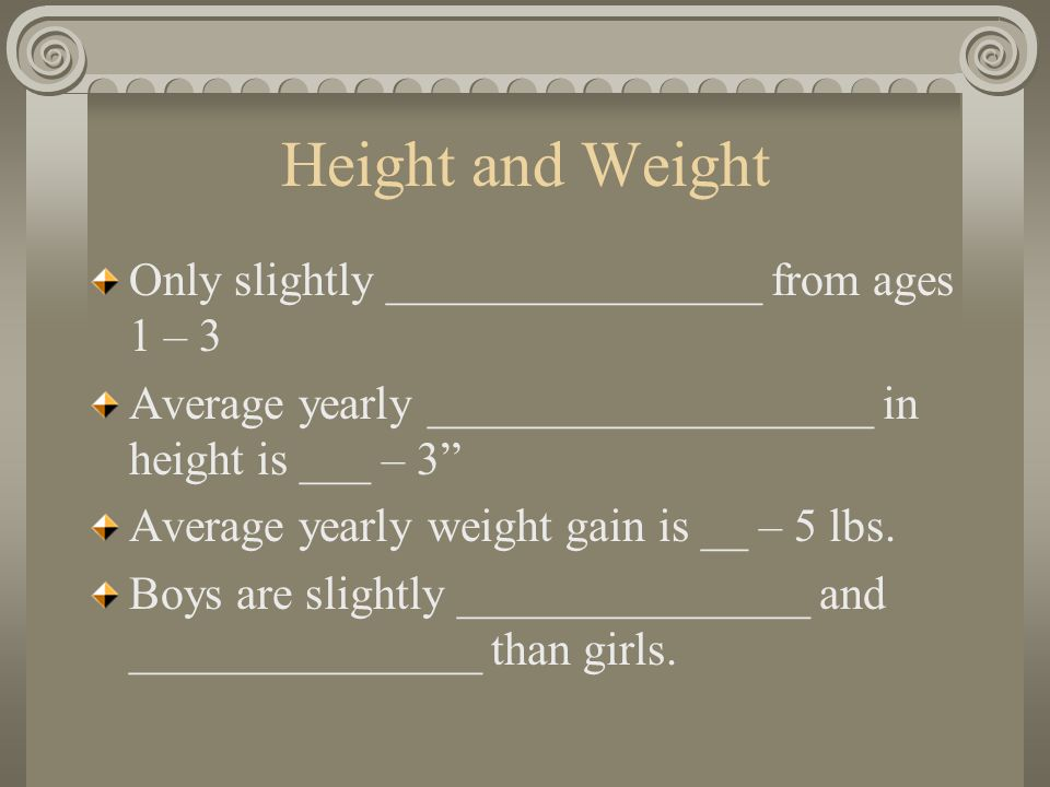 Height and Weight Only slightly ________________ from ages 1 – 3