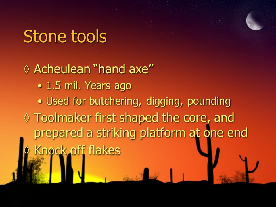 Stone tools Acheulean hand axe