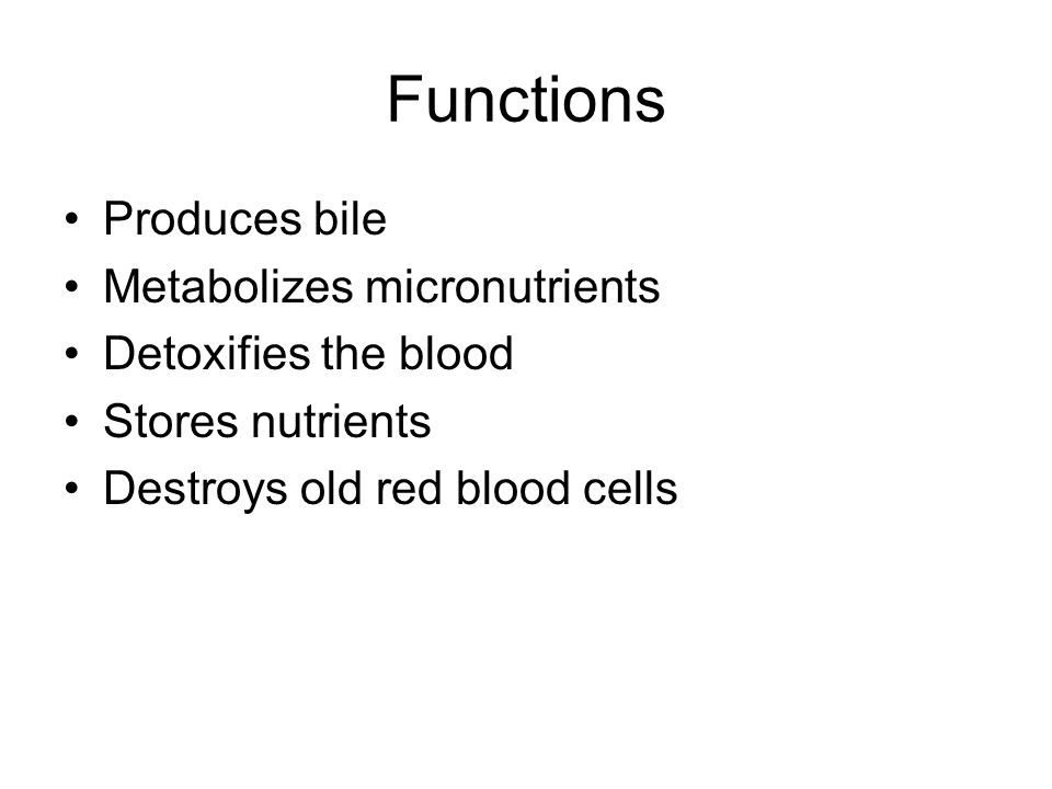 Functions Produces bile Metabolizes micronutrients