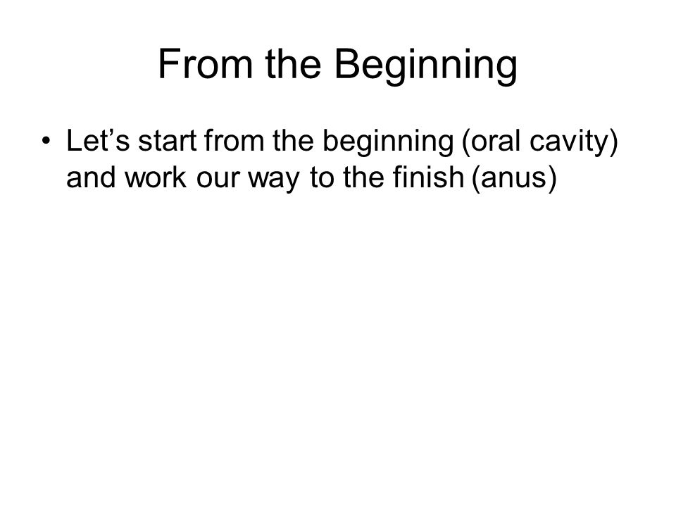 From the Beginning Let's start from the beginning (oral cavity) and work our way to the finish (anus)