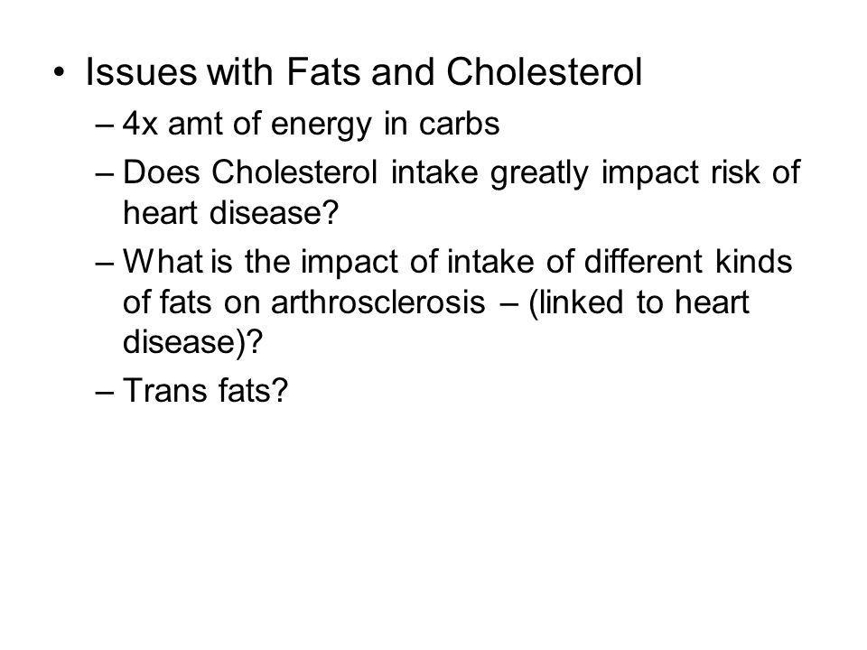 Issues with Fats and Cholesterol