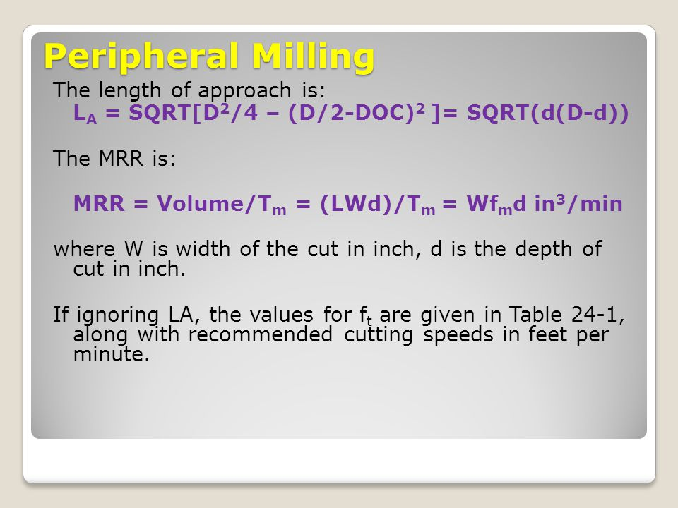 Peripheral Milling The length of approach is: