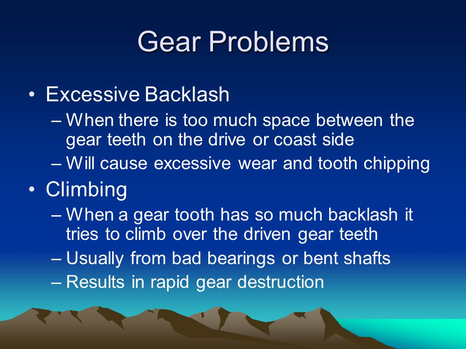 Gear Problems Excessive Backlash Climbing