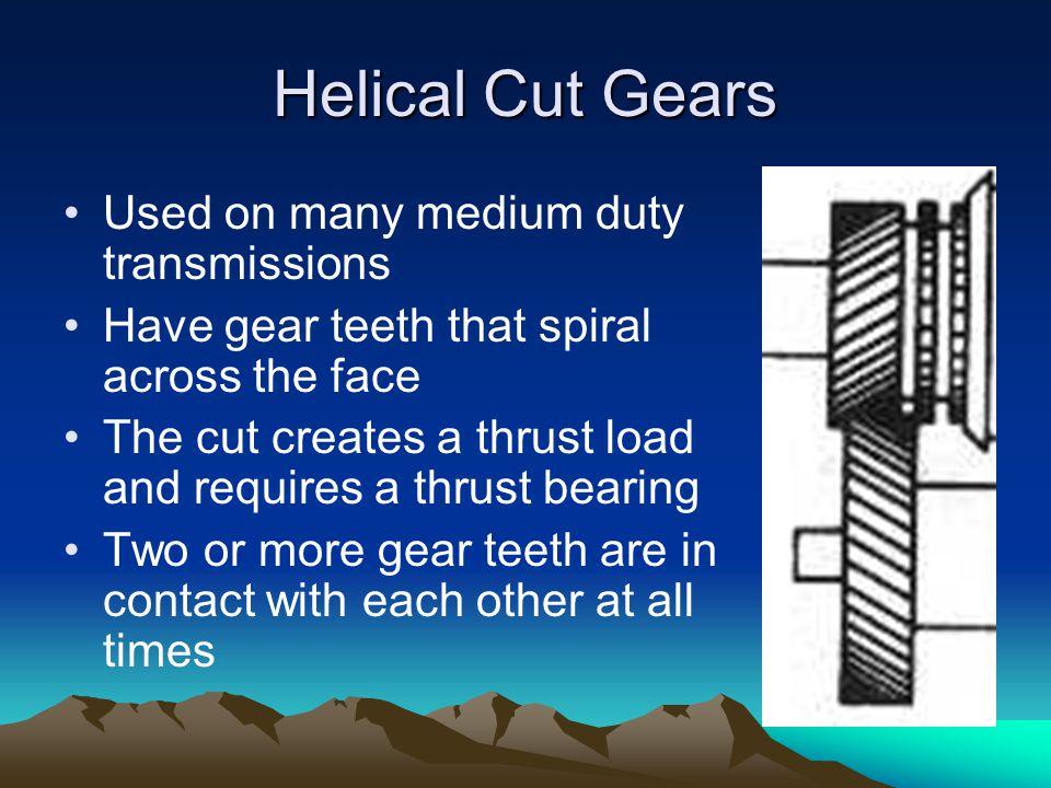 Helical Cut Gears Used on many medium duty transmissions