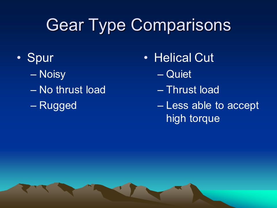 Gear Type Comparisons Spur Helical Cut Noisy No thrust load Rugged