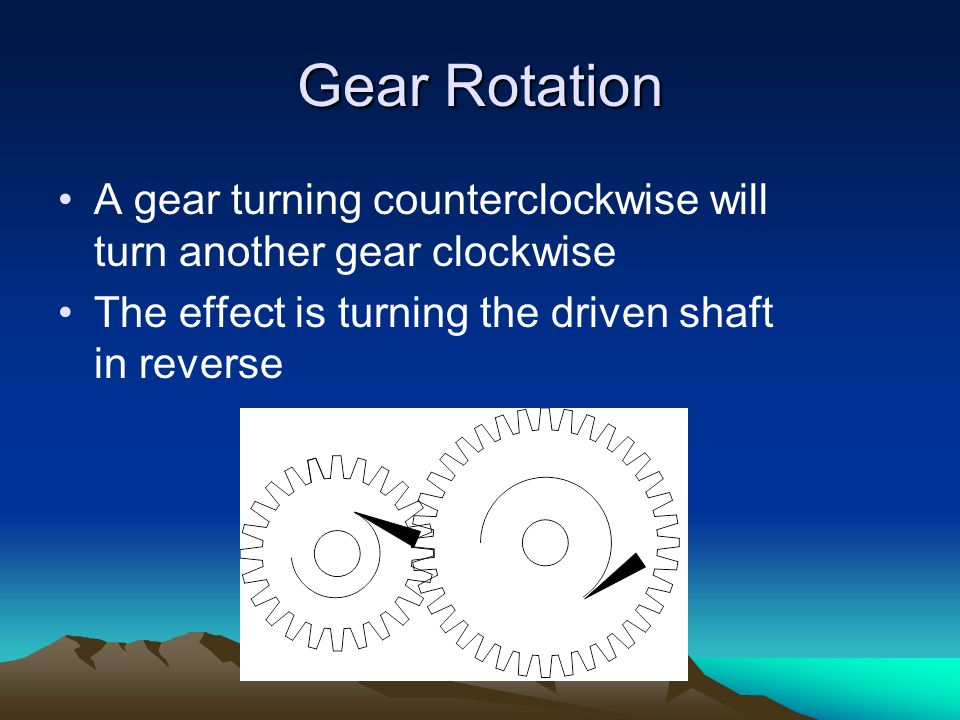 Gear Rotation A gear turning counterclockwise will turn another gear clockwise.