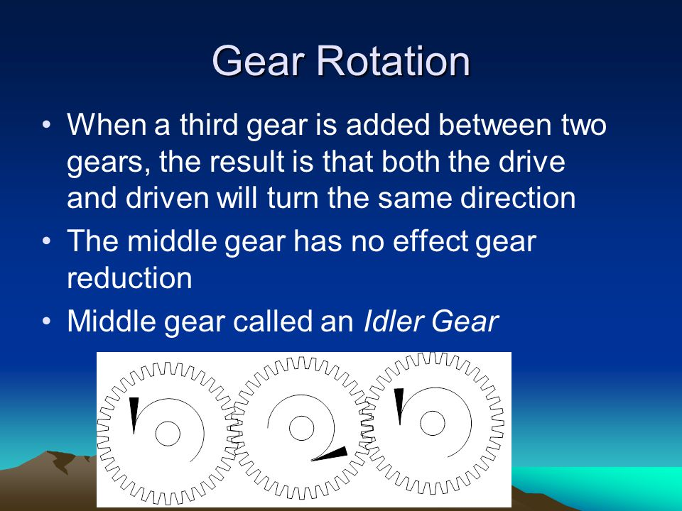 Gear Rotation When a third gear is added between two gears, the result is that both the drive and driven will turn the same direction.