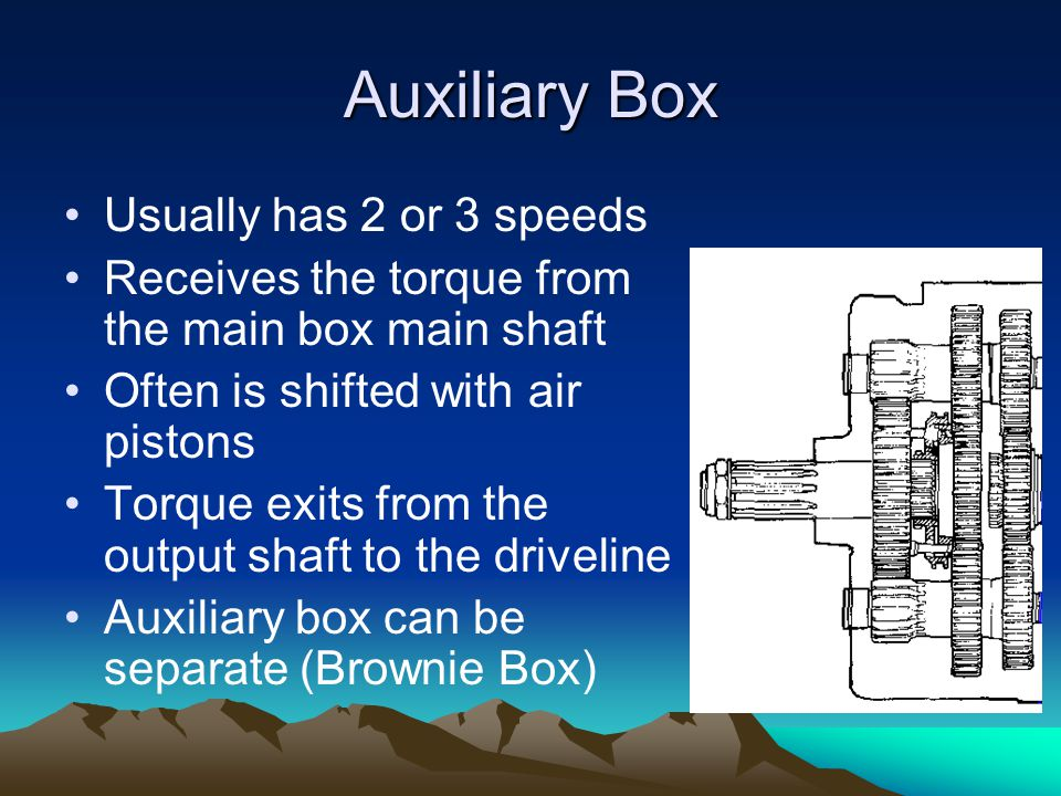 Auxiliary Box Usually has 2 or 3 speeds