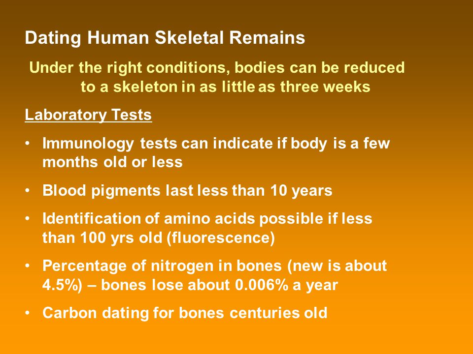 Dating Human Skeletal Remains