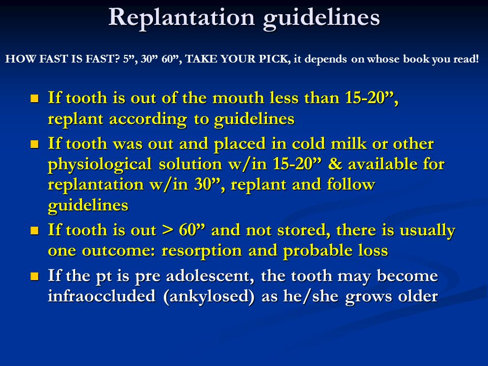 Replantation guidelines