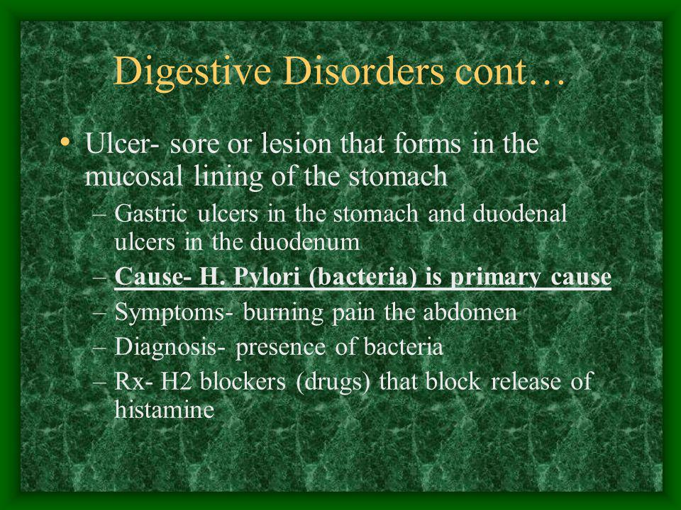 Digestive Disorders cont…