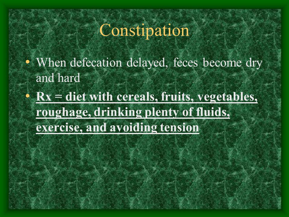 Constipation When defecation delayed, feces become dry and hard