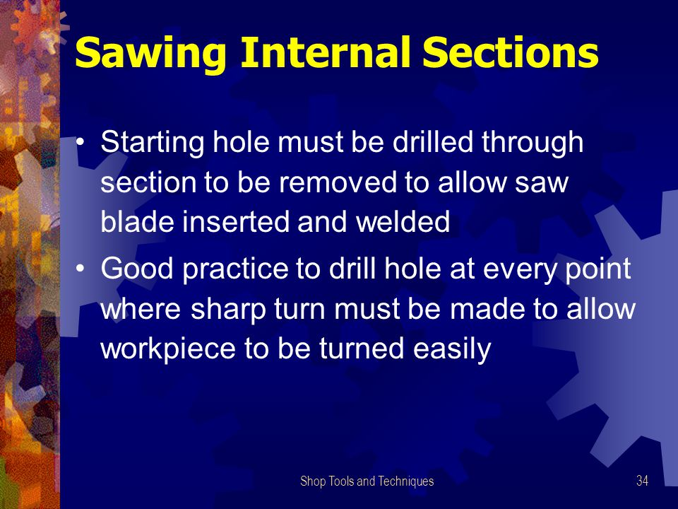 Sawing Internal Sections
