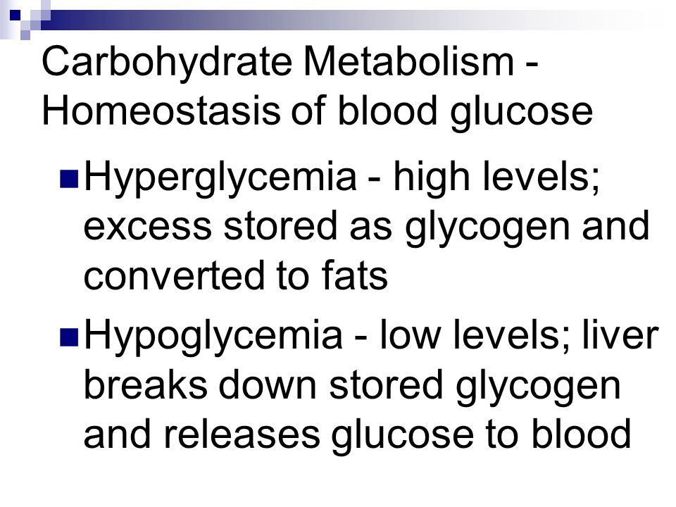 Carbohydrate Metabolism - Homeostasis of blood glucose