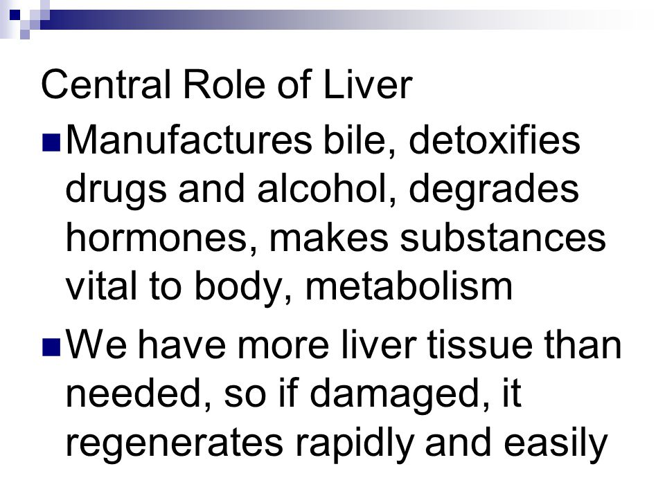 Central Role of Liver Manufactures bile, detoxifies drugs and alcohol, degrades hormones, makes substances vital to body, metabolism.