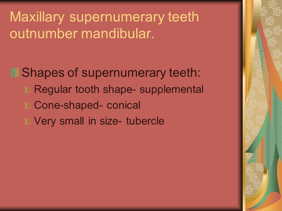 Maxillary supernumerary teeth outnumber mandibular.