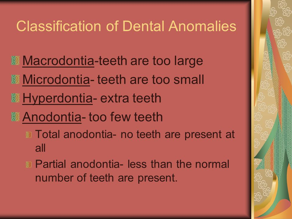 Classification of Dental Anomalies