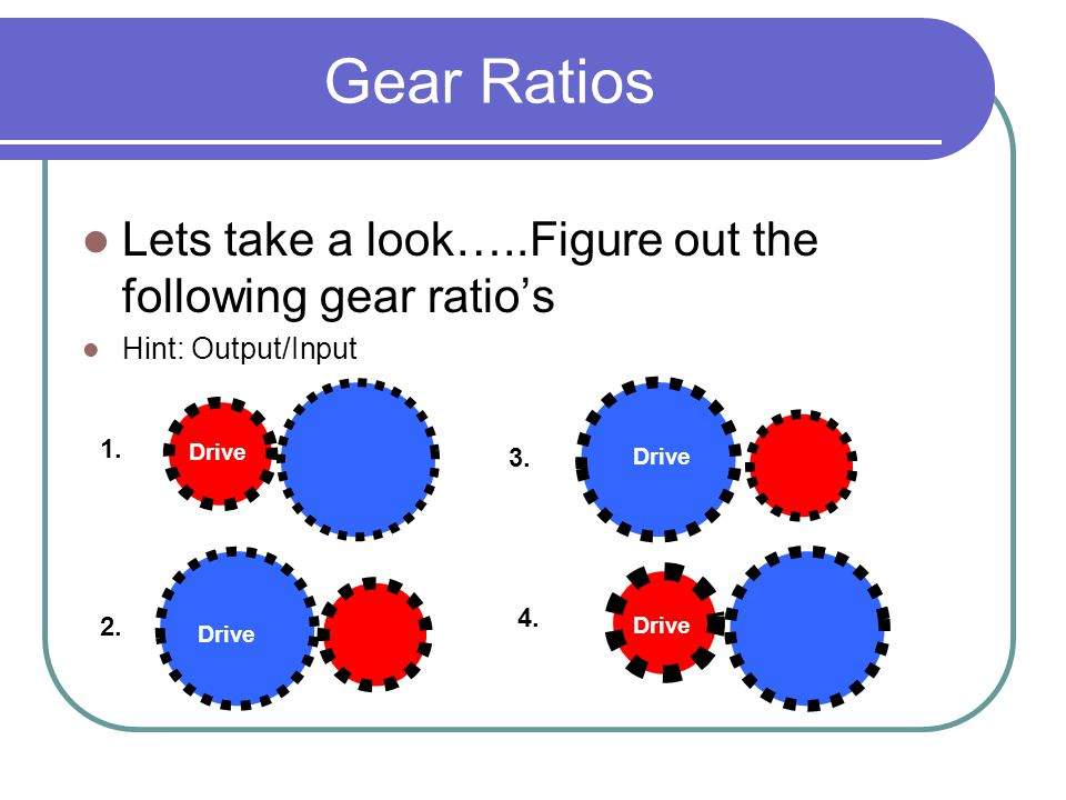 Gear Ratios Lets take a look…..Figure out the following gear ratio's