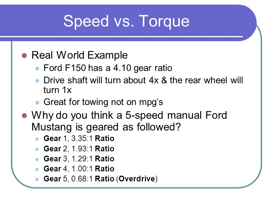 Speed vs. Torque Real World Example