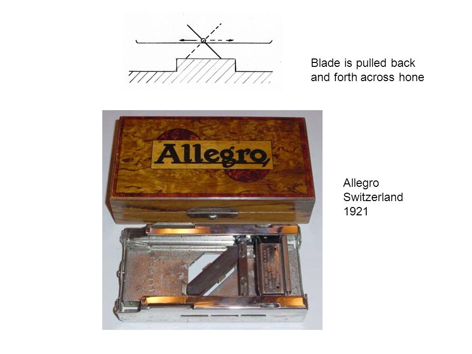 Blade is pulled back and forth across hone Allegro Switzerland 1921