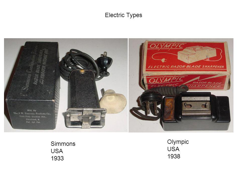 Electric Types Olympic USA 1938 Simmons USA 1933