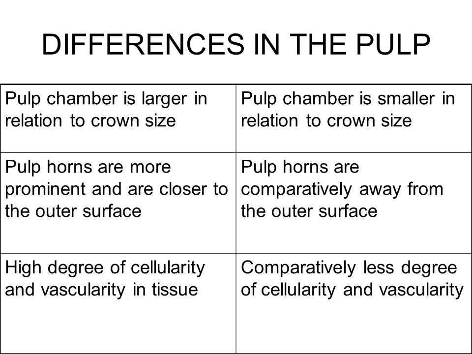 DIFFERENCES IN THE PULP
