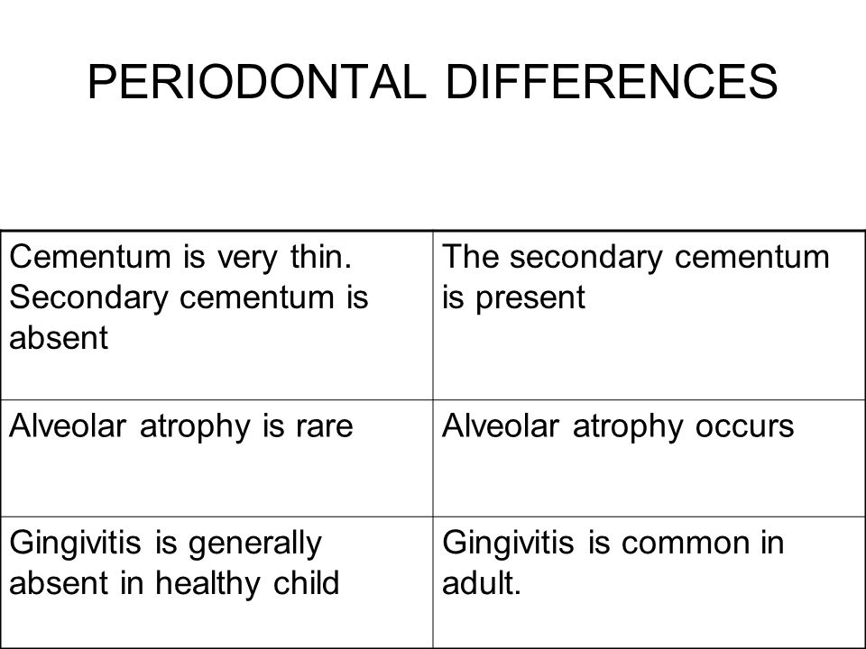 PERIODONTAL DIFFERENCES