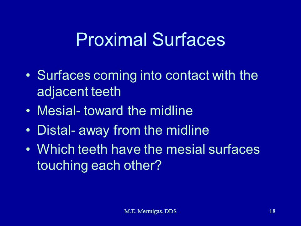 Proximal Surfaces Surfaces coming into contact with the adjacent teeth