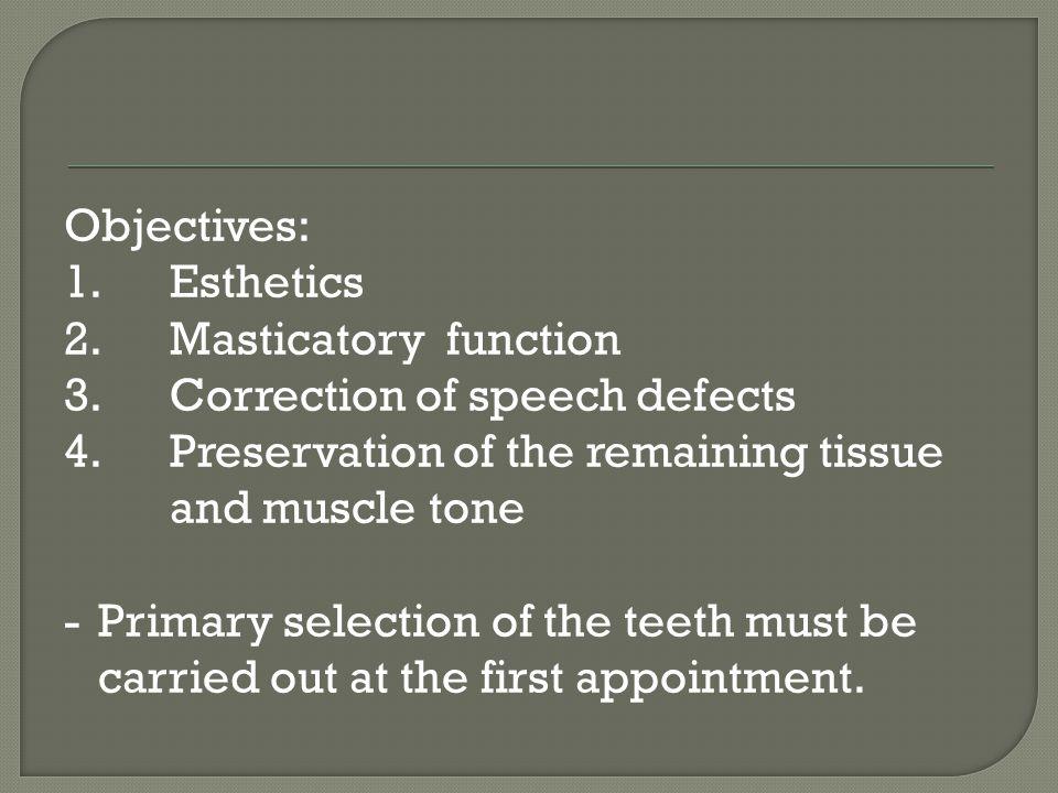 Objectives: 1. Esthetics 2. Masticatory function 3