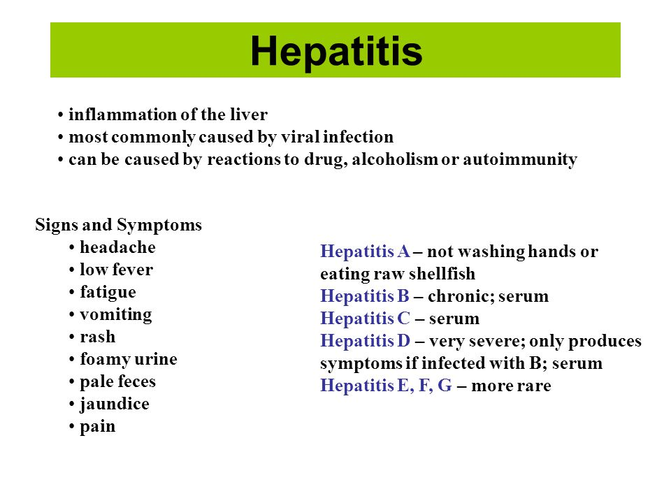 Hepatitis inflammation of the liver