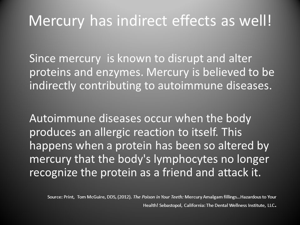 Mercury has indirect effects as well!