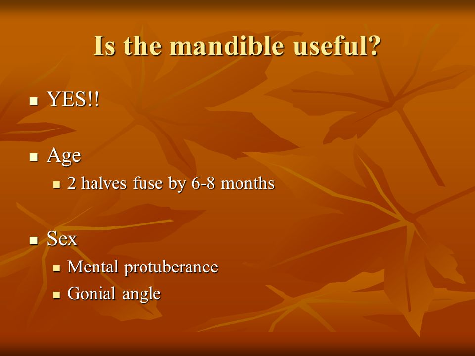 Is the mandible useful YES!! Age Sex 2 halves fuse by 6-8 months