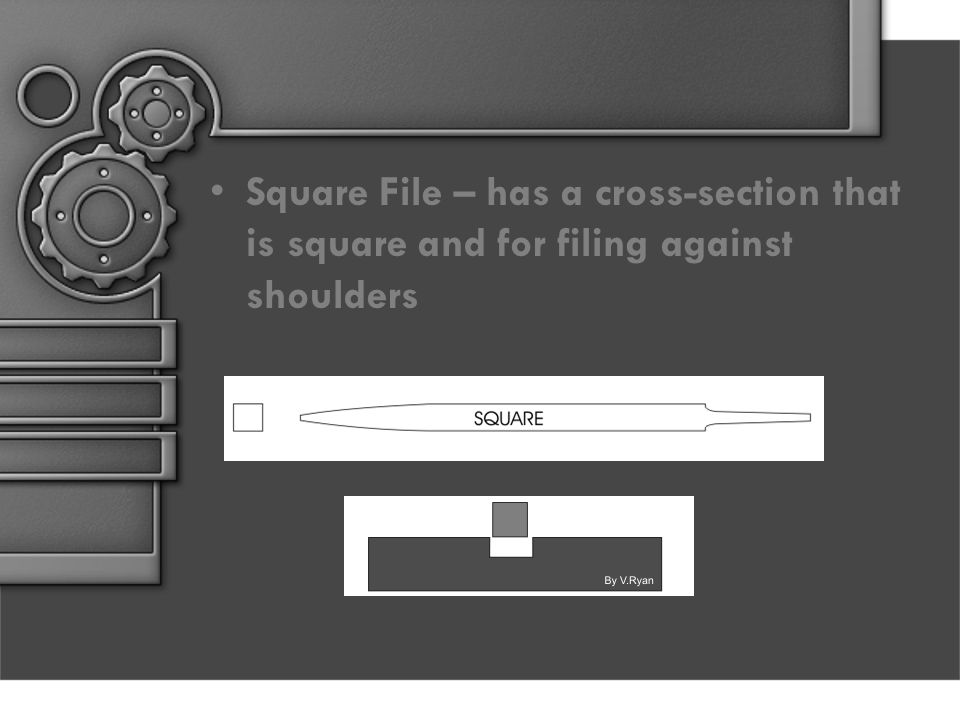 Square File – has a cross-section that is square and for filing against shoulders