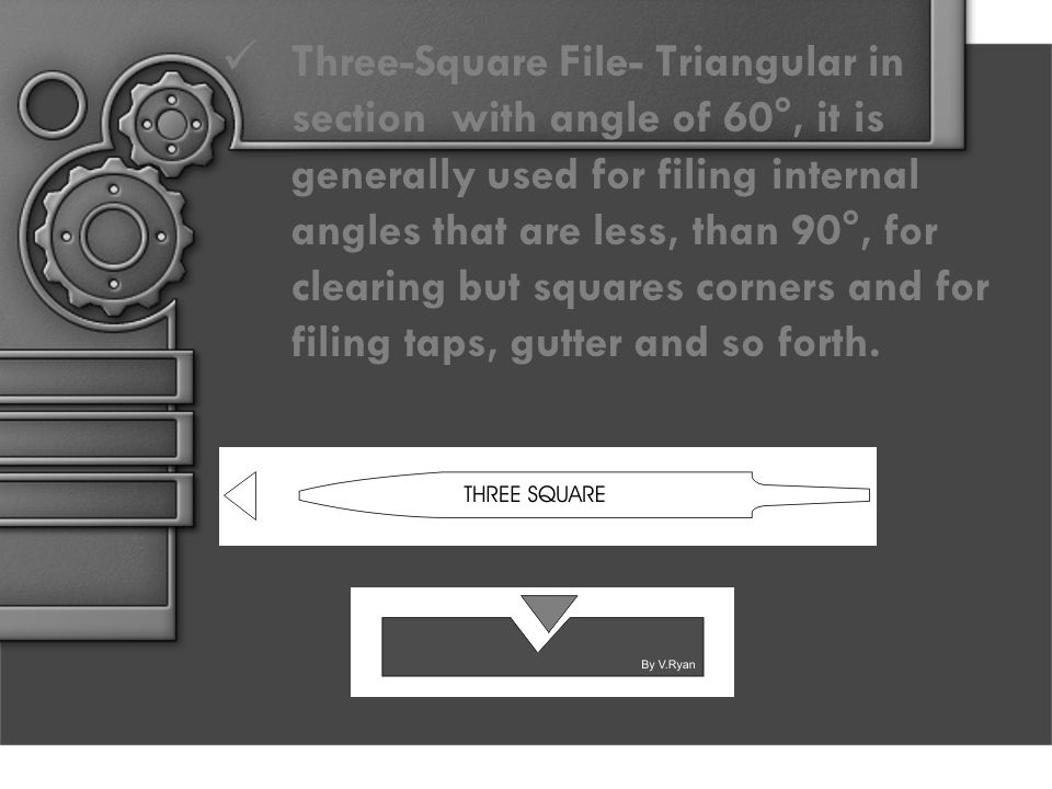 Three-Square File- Triangular in section with angle of 60°, it is generally used for filing internal angles that are less, than 90°, for clearing but squares corners and for filing taps, gutter and so forth.