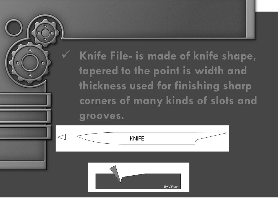Knife File- is made of knife shape, tapered to the point is width and thickness used for finishing sharp corners of many kinds of slots and grooves.