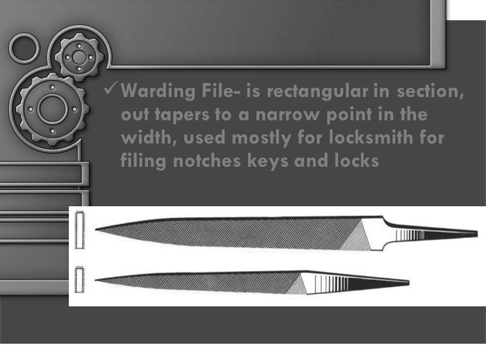Warding File- is rectangular in section, out tapers to a narrow point in the width, used mostly for locksmith for filing notches keys and locks
